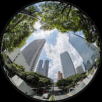 fulldome 全天周ドーム映像制作 東京 都会 高層ビル